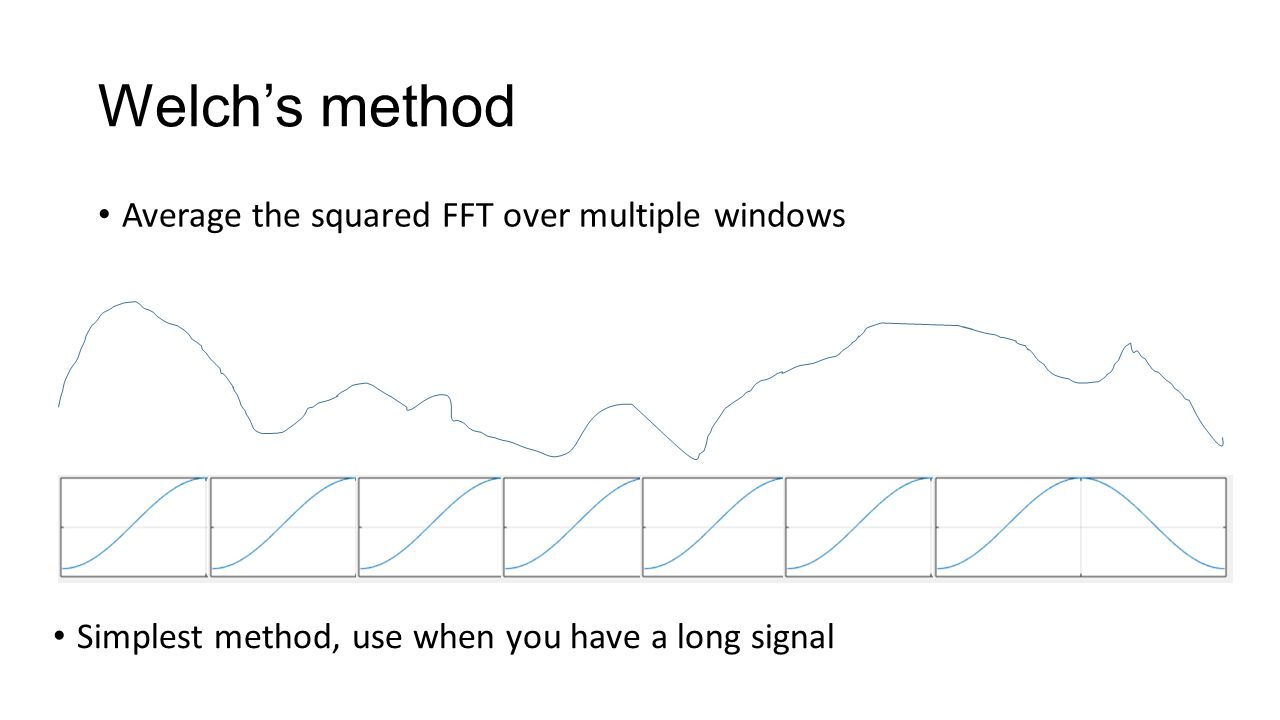 Welch's method Average the squared FFT over multiple windows Simplest method, use when you have a long signal