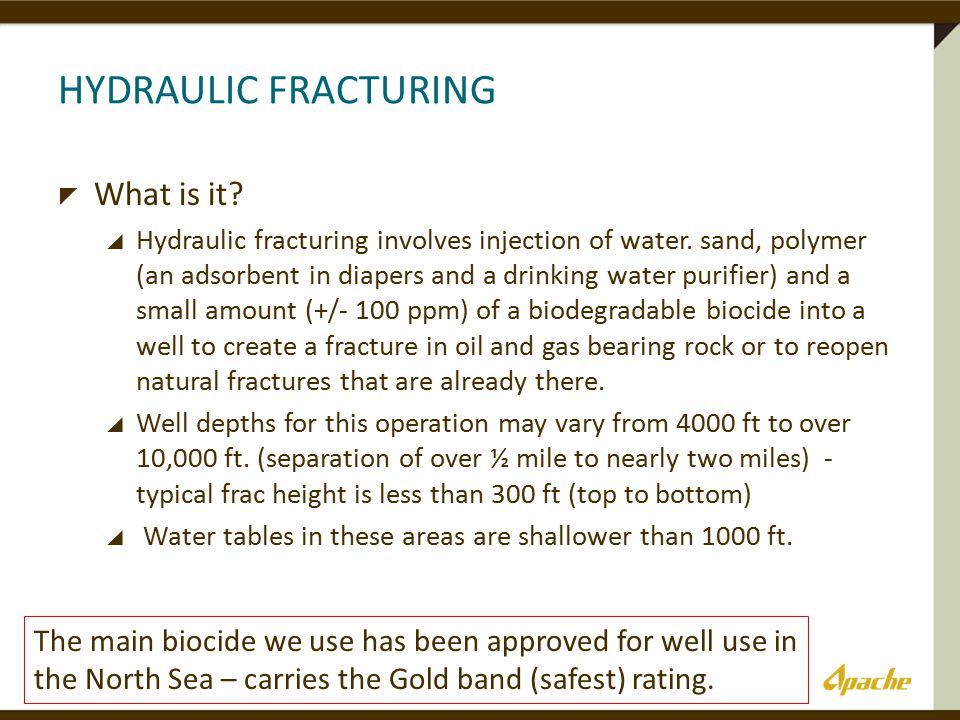 HYDRAULIC FRACTURING  What is it.  Hydraulic fracturing involves injection of water.