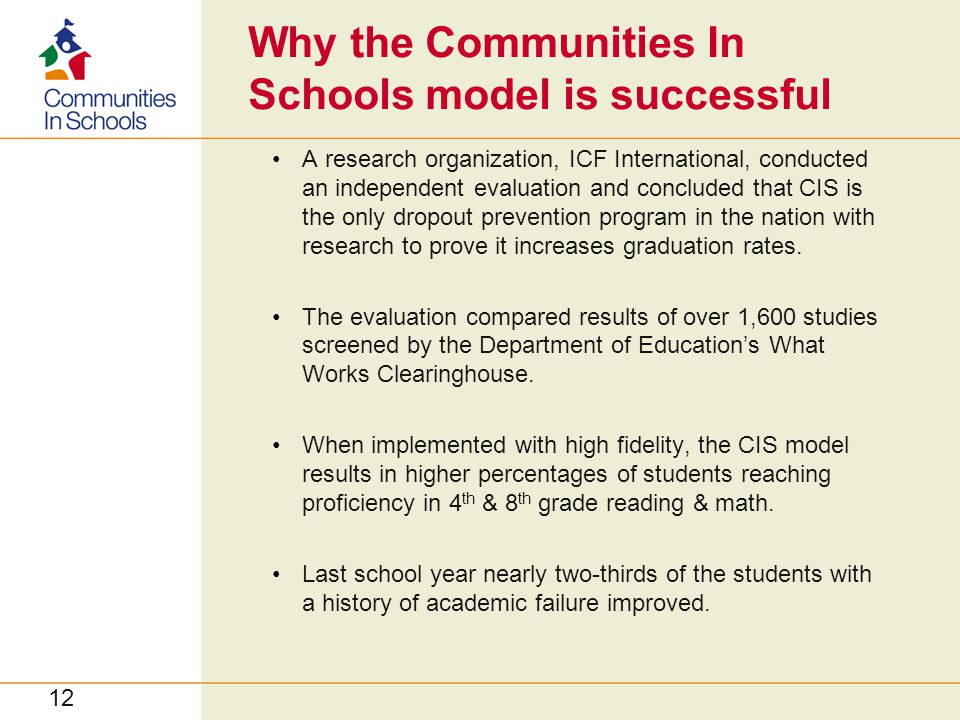 Why the Communities In Schools model is successful A research organization, ICF International, conducted an independent evaluation and concluded that CIS is the only dropout prevention program in the nation with research to prove it increases graduation rates.