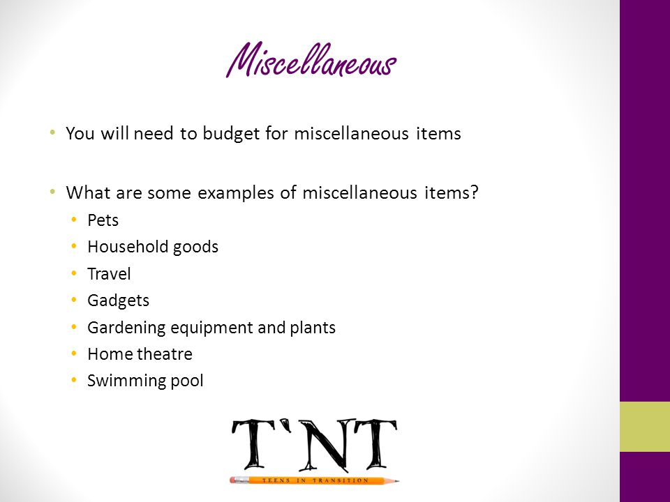 Miscellaneous You will need to budget for miscellaneous items What are some examples of miscellaneous items.