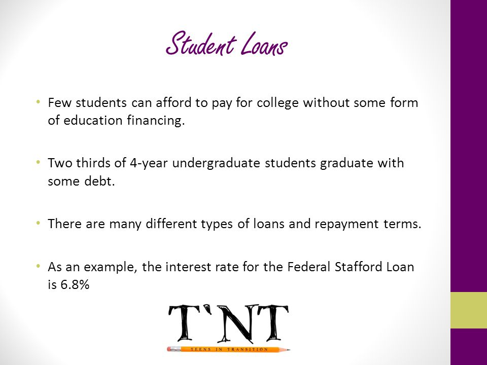 Student Loans Few students can afford to pay for college without some form of education financing.