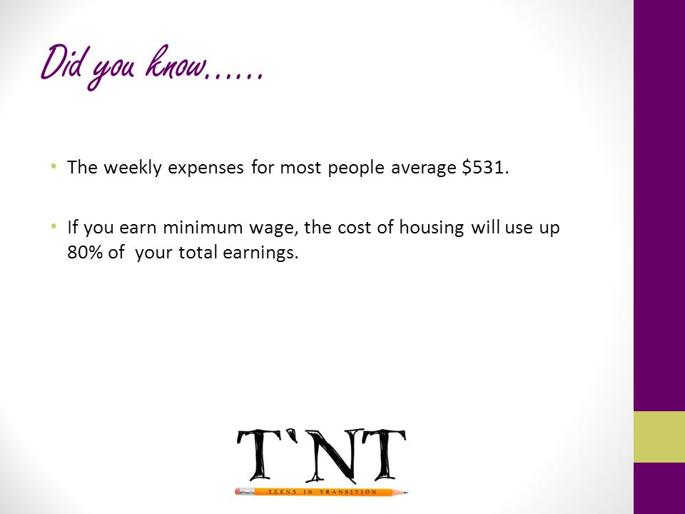 Did you know…… The weekly expenses for most people average $531.