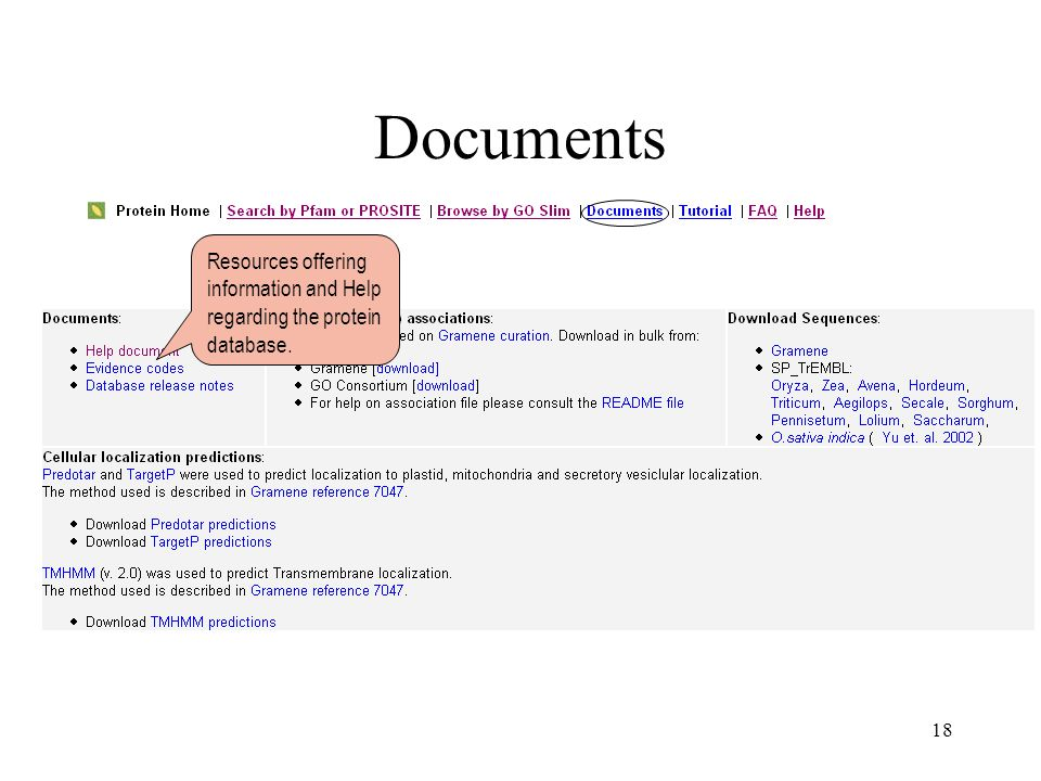 18 Documents Resources offering information and Help regarding the protein database.