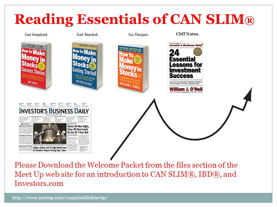 Reading Essentials of CAN SLIM ® Please Download the Welcome Packet from the files section of the Meet Up web site for an introduction to CAN SLIM®, IBD®, and Investors.com Cliff Notes.