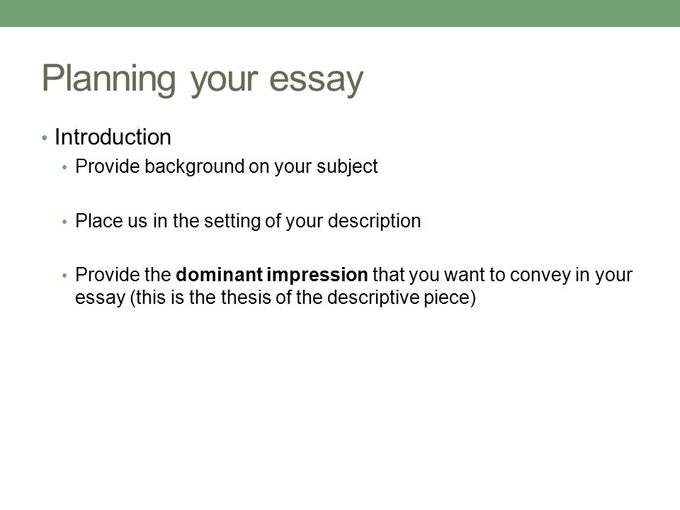 characteristics of descriptive essays from seeing the pattern ppt 4 planning your essay