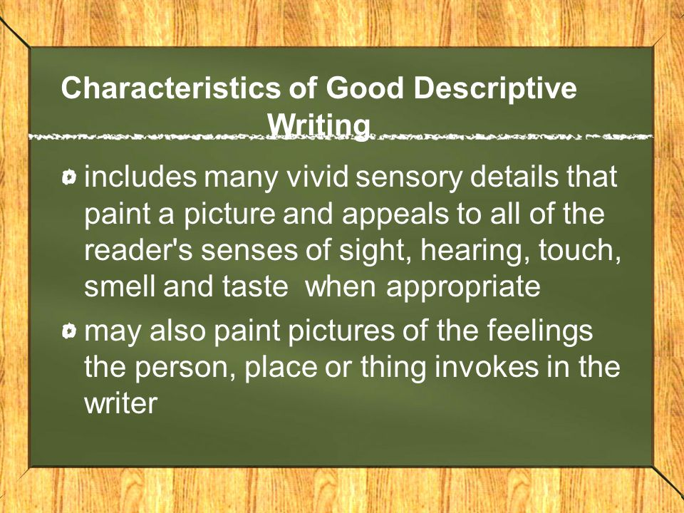 writing descriptive essay introduction Writing a descriptive essay the aim of description is to make sensory details vividly present to the reader although it may be only in school that you are asked to write a specifically descriptive essay, description is an important element in many kinds of writing.