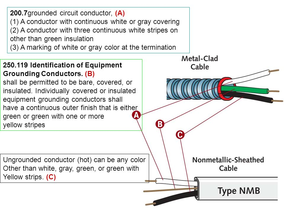 200.7grounded circuit conductor, (A) (1) A conductor with continuous white or gray covering (2) A conductor with three continuous white stripes on other than green insulation (3) A marking of white or gray color at the termination Identification of Equipment Grounding Conductors.