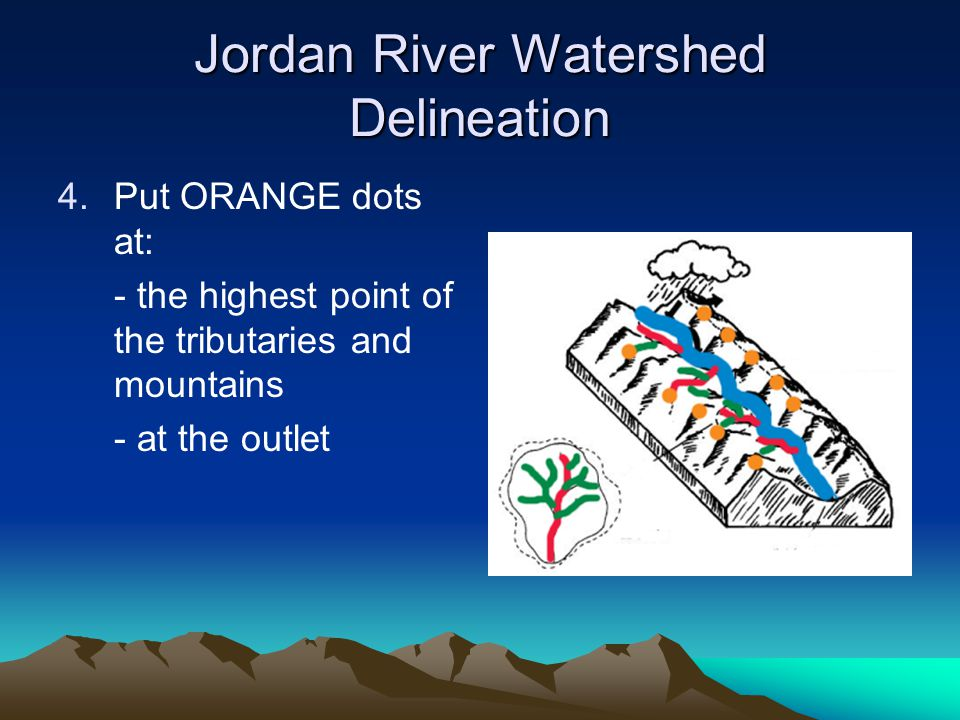Jordan River Watershed Delineation 4.Put ORANGE dots at: - the highest point of the tributaries and mountains - at the outlet