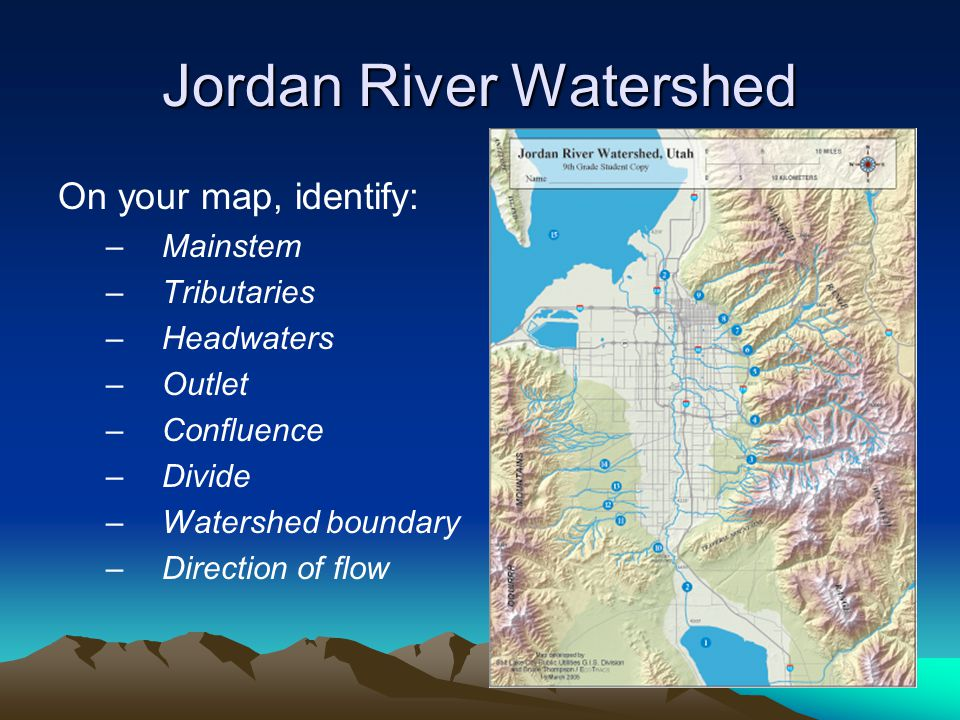 Jordan River Watershed On your map, identify: –Mainstem –Tributaries –Headwaters –Outlet –Confluence –Divide –Watershed boundary –Direction of flow