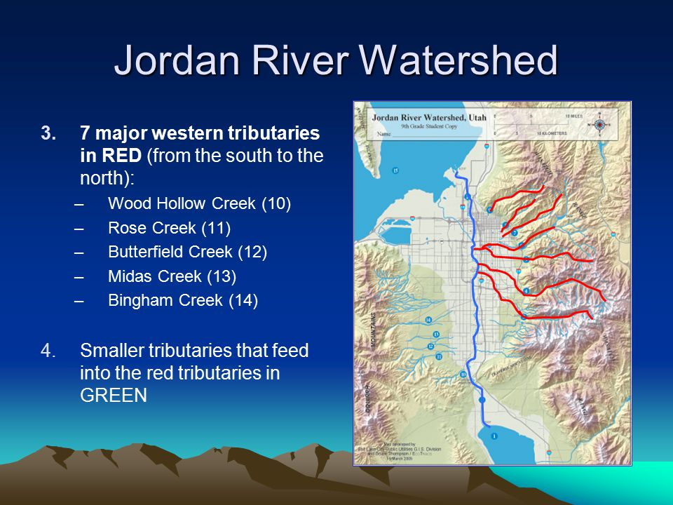 Jordan River Watershed 3.7 major western tributaries in RED (from the south to the north): –Wood Hollow Creek (10) –Rose Creek (11) –Butterfield Creek (12) –Midas Creek (13) –Bingham Creek (14) 4.Smaller tributaries that feed into the red tributaries in GREEN