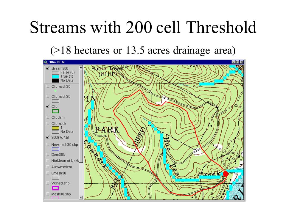 Streams with 200 cell Threshold (>18 hectares or 13.5 acres drainage area)