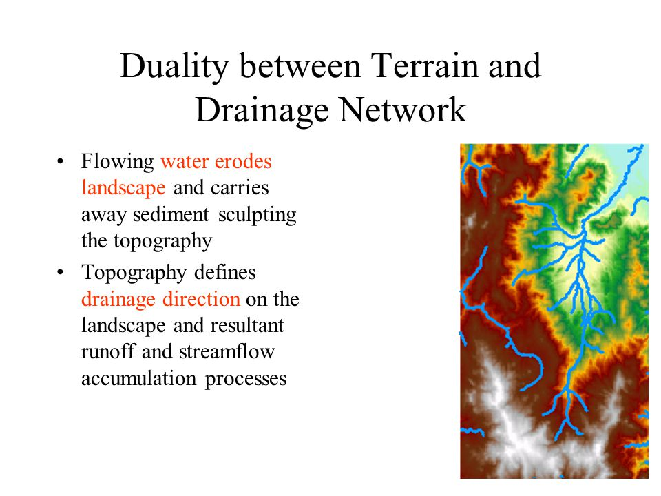 Duality between Terrain and Drainage Network Flowing water erodes landscape and carries away sediment sculpting the topography Topography defines drainage direction on the landscape and resultant runoff and streamflow accumulation processes