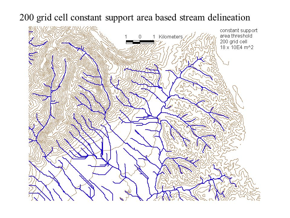 200 grid cell constant support area based stream delineation