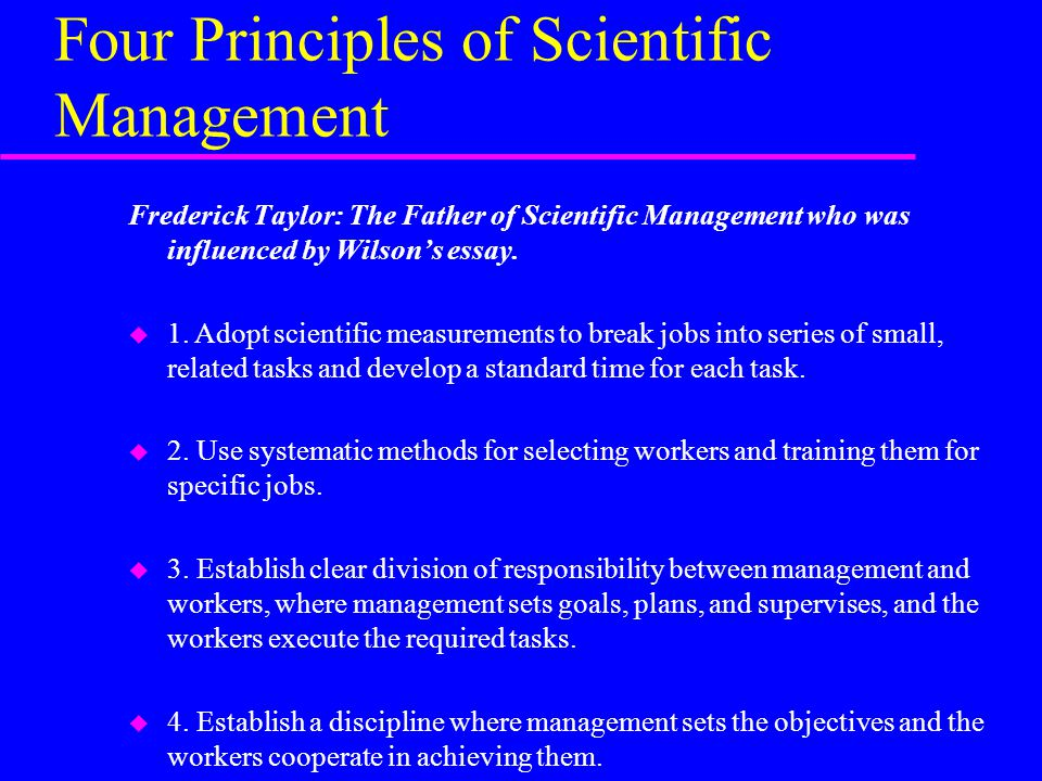 educational leadership outline of chapters organizational  four principles of scientific management frederick taylor the father of scientific management who was influenced