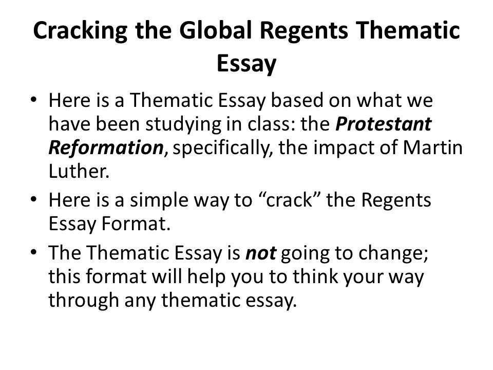 Global regents essays