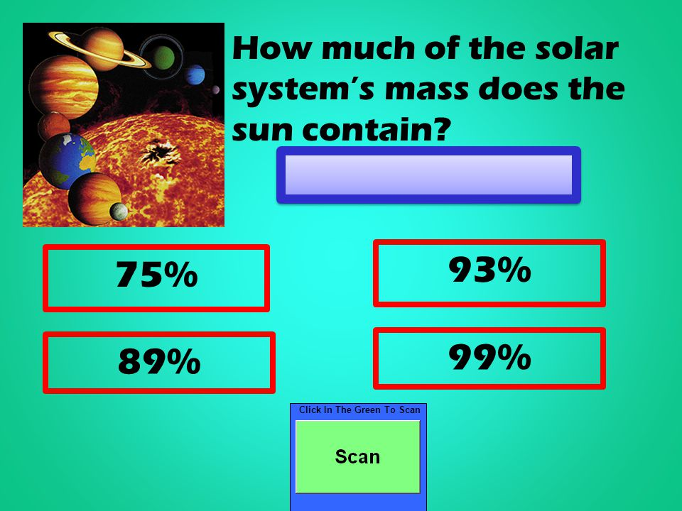 Click In The Green To Scan 75% 93% 89% 99% How much of the solar system's mass does the sun contain