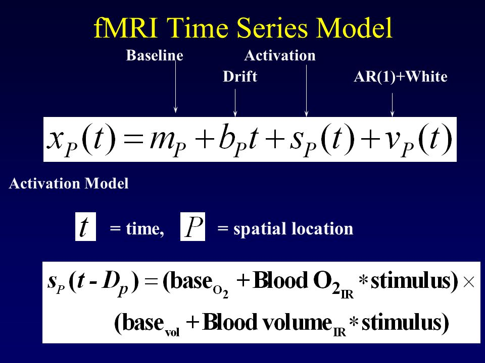 fMRI Time Series Model Baseline Activation Drift AR(1)+White Activation Model = time, = spatial location