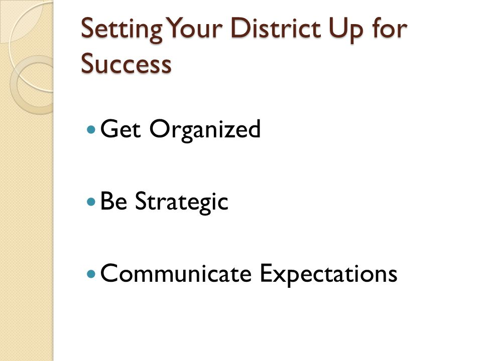 Setting Your District Up for Success Get Organized Be Strategic Communicate Expectations