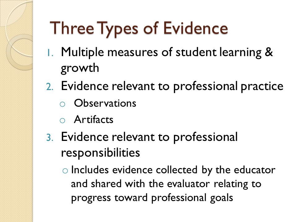 Three Types of Evidence 1. Multiple measures of student learning & growth 2.