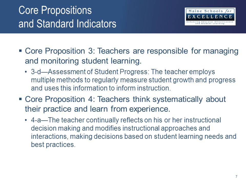 Core Propositions and Standard Indicators  Core Proposition 3: Teachers are responsible for managing and monitoring student learning.
