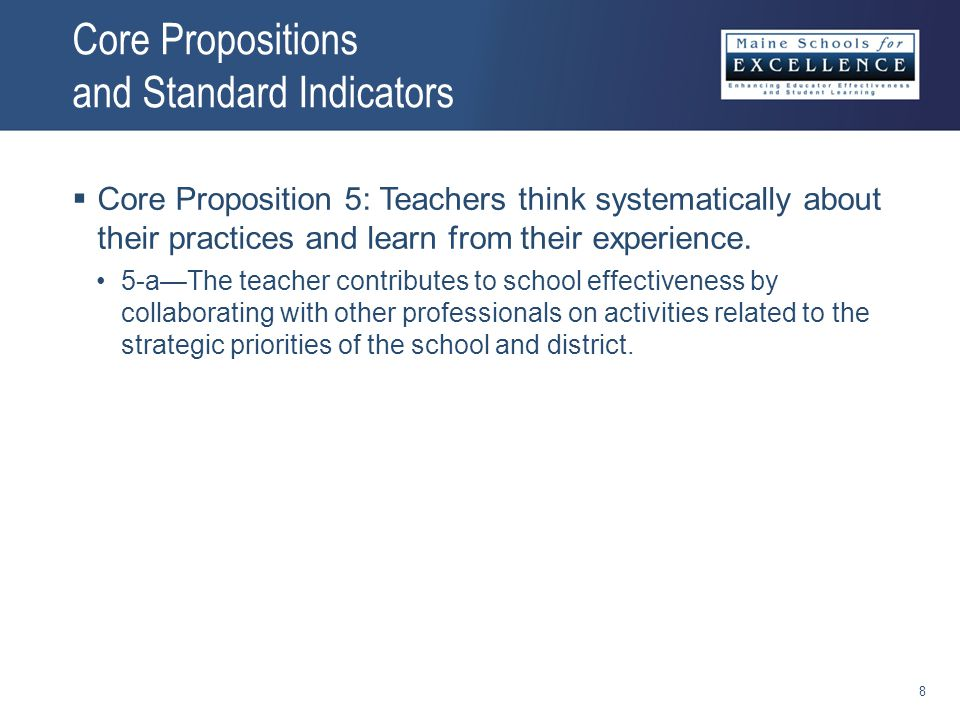 Core Propositions and Standard Indicators  Core Proposition 5: Teachers think systematically about their practices and learn from their experience.