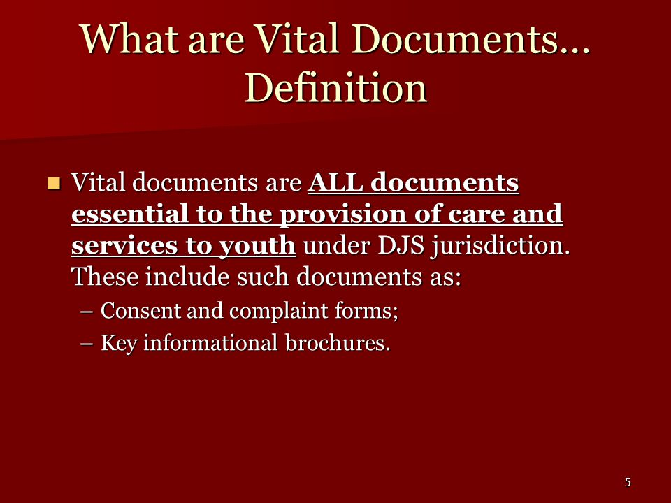 5 What are Vital Documents… Definition Vital documents are ALL documents essential to the provision of care and services to youth under DJS jurisdiction.
