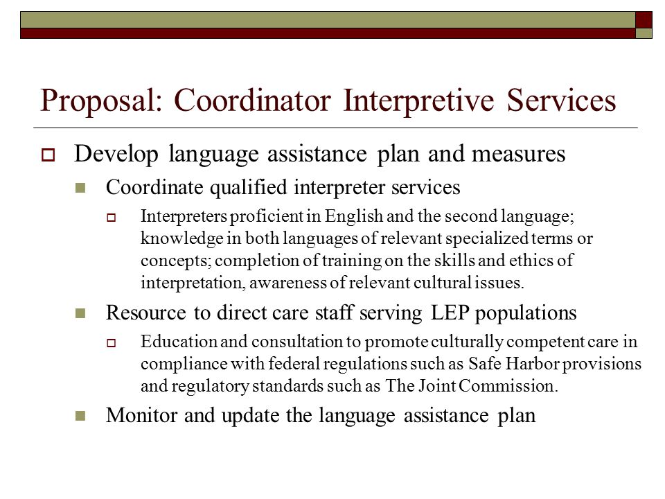 Interpretive Services Legal Directives And Accreditations Standards