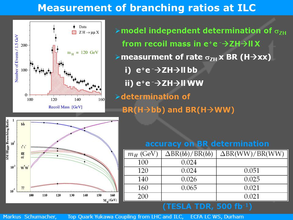 9 / 11 Markus Schumacher, Top Quark Yukawa Coupling from LHC and ILC, ECFA LC WS, Durham  model independent determination of  ZH from recoil mass in e + e -  ZH  ll X  measurment of rate  ZH x BR (H  xx) i) e + e -  ZH  ll bb ii) e + e -  ZH  ll WW  determination of BR(H  bb) and BR(H  WW) Measurement of branching ratios at ILC accuracy on BR determination (TESLA TDR, 500 fb -1 )