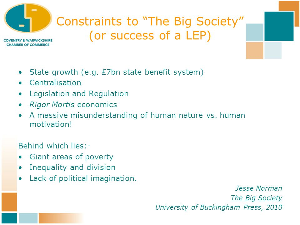 Constraints to The Big Society (or success of a LEP) State growth (e.g.