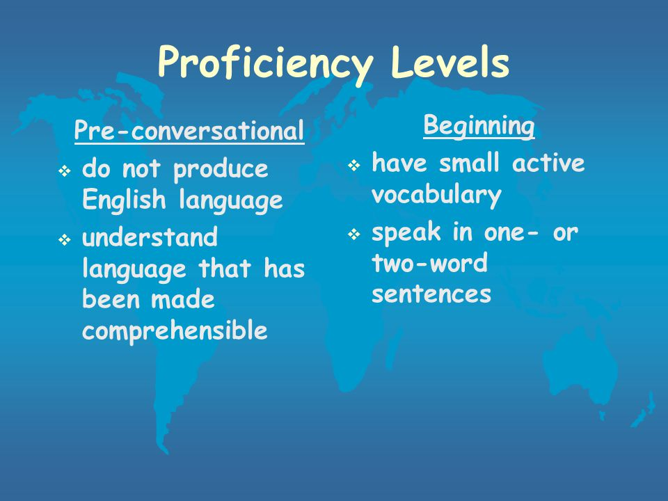 Assessment  Monitor student's progress during placement in ESL program  If a student experiences difficulty in regular classroom, he/she will be assessed again  Alter instruction according to each student's needs  Determine when ESL instruction is no longer necessary based on SELP, teacher recommendations, previous achievement, etc.
