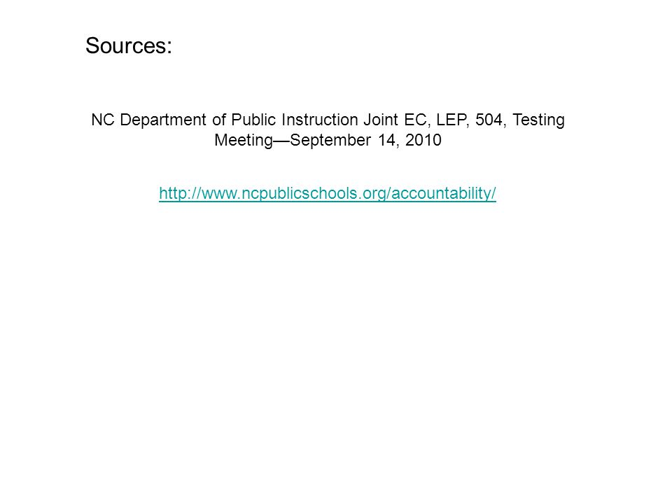 Sources: NC Department of Public Instruction Joint EC, LEP, 504, Testing Meeting—September 14,