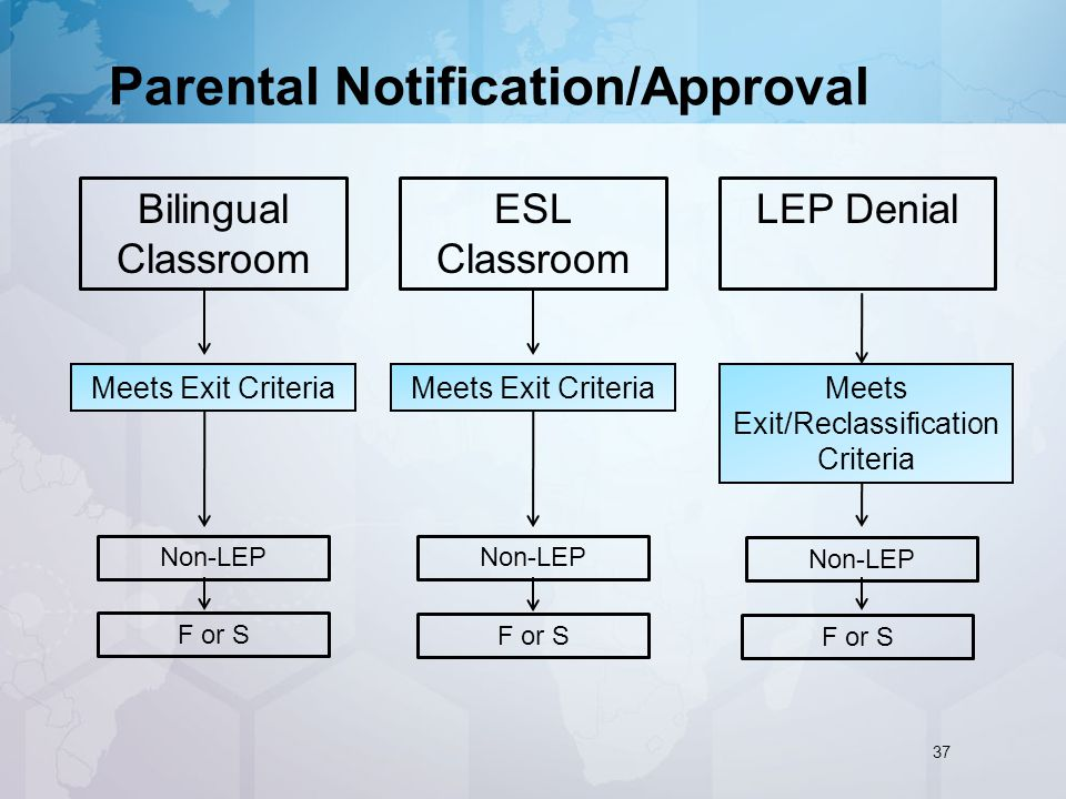 Parental Notification/Approval LEP Denial Meets Exit Criteria ESL Classroom Non-LEP Meets Exit/Reclassification Criteria Meets Exit Criteria Bilingual Classroom F or S 37