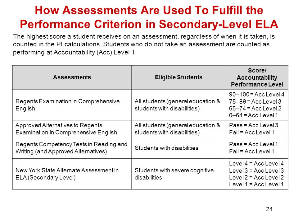 24 How Assessments Are Used To Fulfill the Performance Criterion in Secondary-Level ELA The highest score a student receives on an assessment, regardless of when it is taken, is counted in the PI calculations.