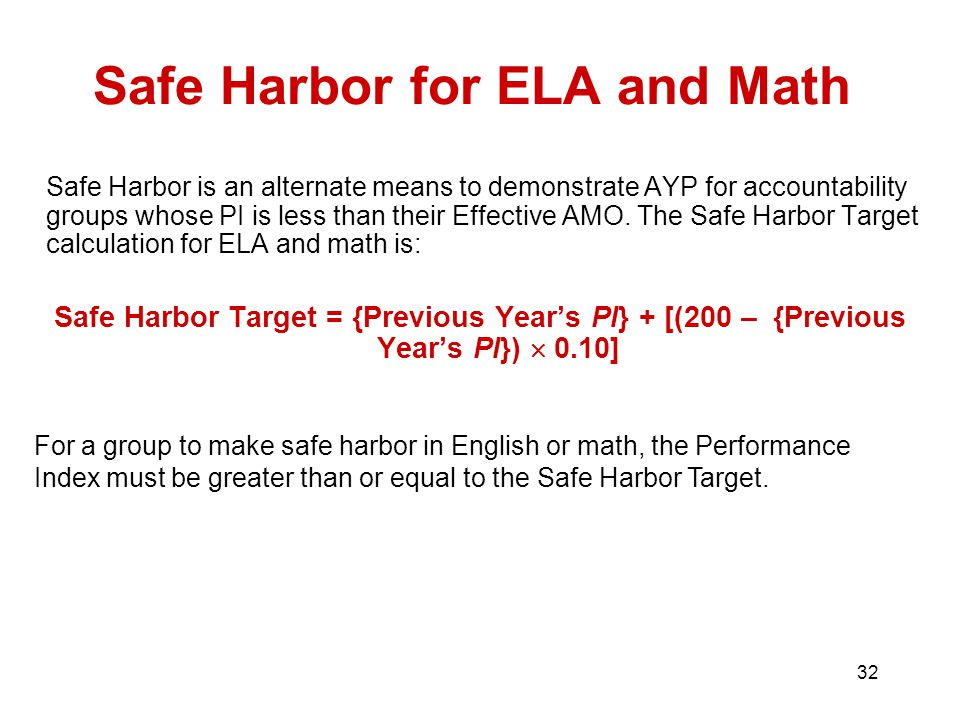 32 Safe Harbor for ELA and Math Safe Harbor is an alternate means to demonstrate AYP for accountability groups whose PI is less than their Effective AMO.