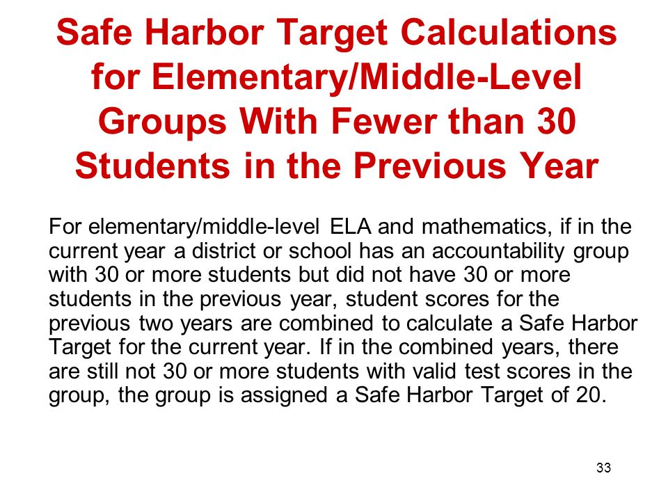 33 Safe Harbor Target Calculations for Elementary/Middle-Level Groups With Fewer than 30 Students in the Previous Year For elementary/middle-level ELA and mathematics, if in the current year a district or school has an accountability group with 30 or more students but did not have 30 or more students in the previous year, student scores for the previous two years are combined to calculate a Safe Harbor Target for the current year.