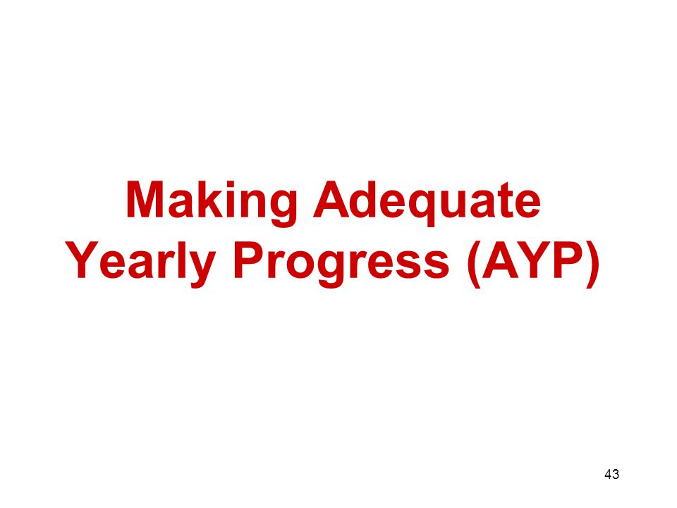 43 Making Adequate Yearly Progress (AYP)