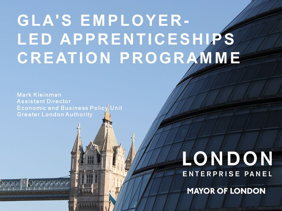 Mark Kleinman Assistant Director Economic and Business Policy Unit Greater London Authority GLA S EMPLOYER- LED APPRENTICESHIPS CREATION PROGRAMME