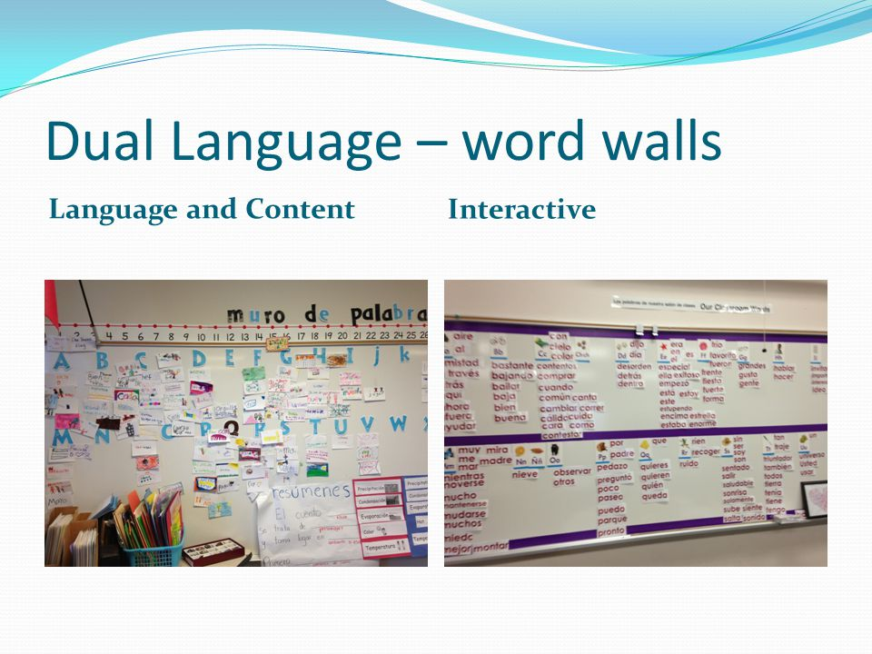 Dual Language – word walls Language and Content Interactive