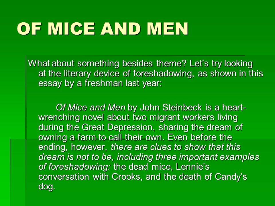 of mice and men dream essay conclusion