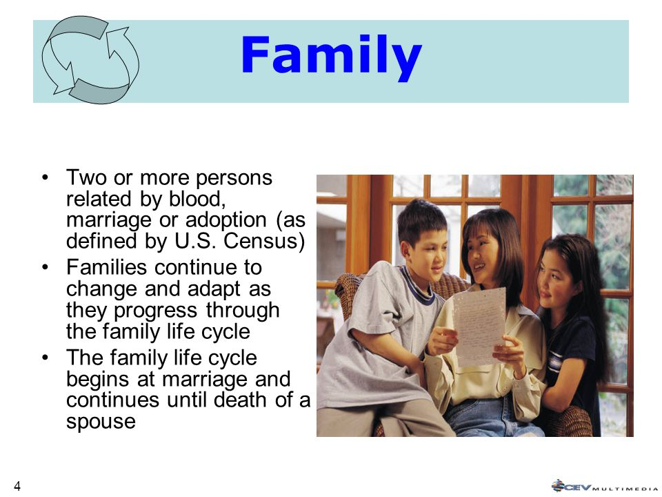 4 Family Two or more persons related by blood, marriage or adoption (as defined by U.S.