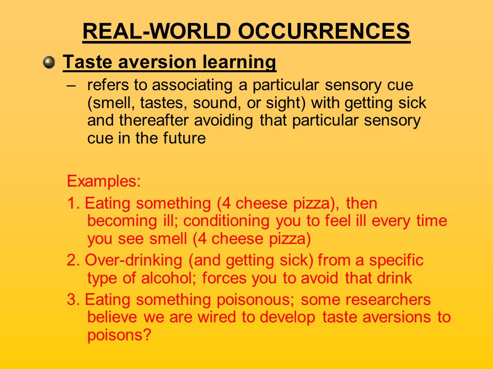 Taste Aversion Alcohol