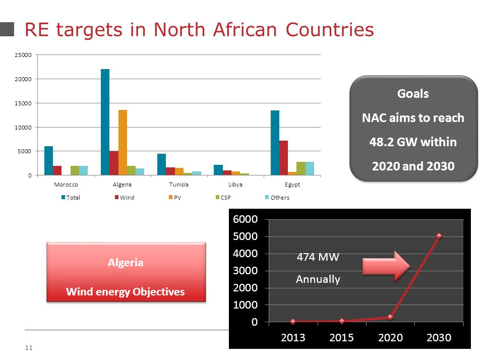 11 RE targets in North African Countries Goals NAC aims to reach 48.2 GW within 2020 and 2030 Goals NAC aims to reach 48.2 GW within 2020 and MW Annually Algeria Wind energy Objectives Algeria Wind energy Objectives