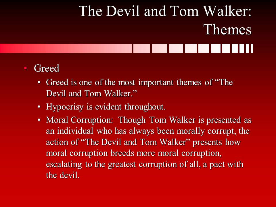 an analysis of themes in the devil and tom walker by washington irving