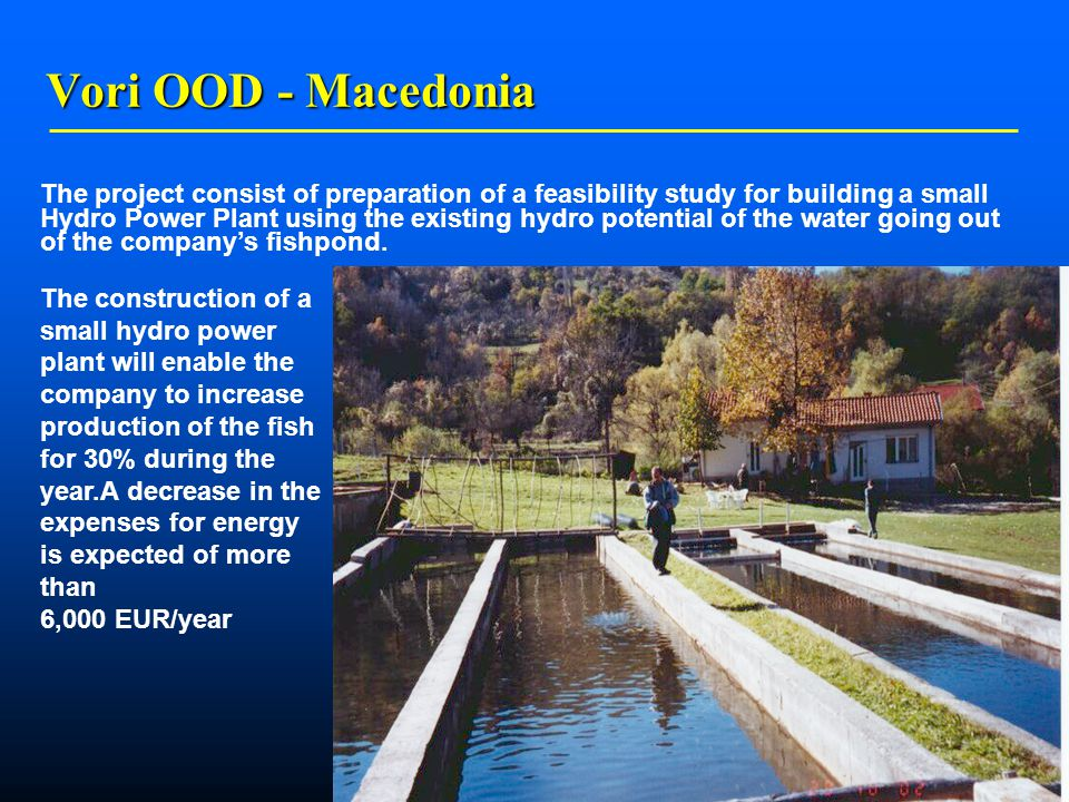    Vori OOD - Macedonia The project consist of preparation of a feasibility study for building a small Hydro Power Plant using the existing hydro potential of the water going out of the company's fishpond.