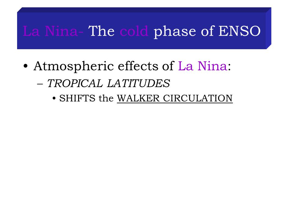 La Nina- The cold phase of ENSO Atmospheric effects of La Nina: – TROPICAL LATITUDES SHIFTS the WALKER CIRCULATION