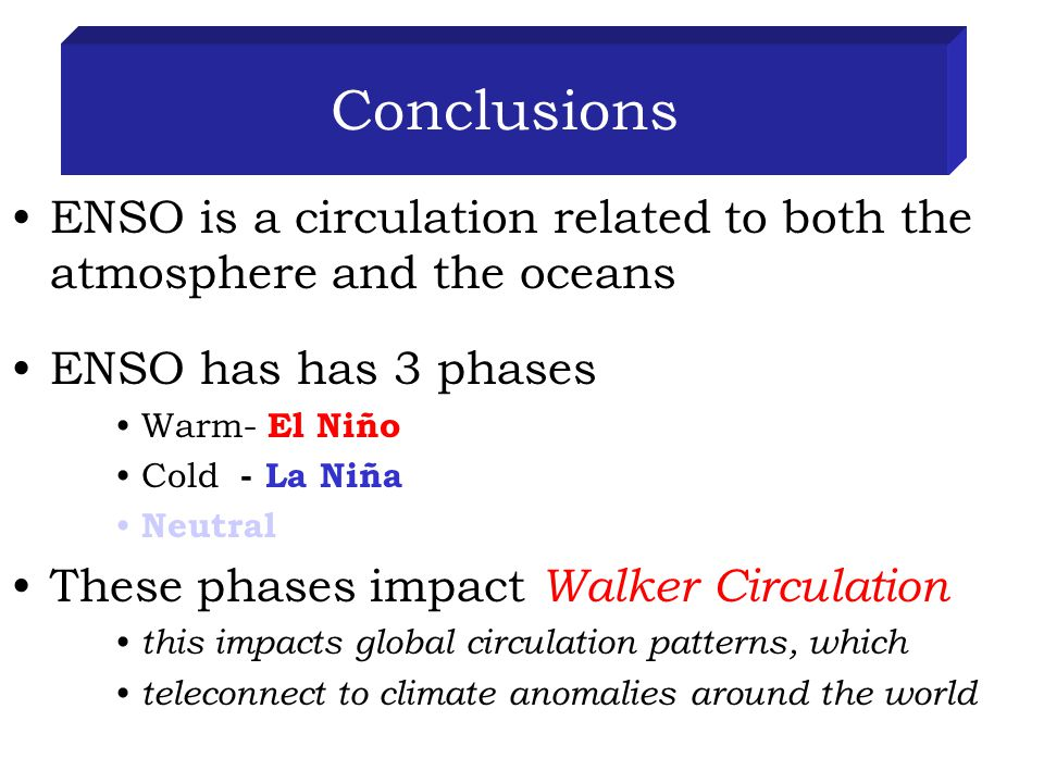 Conclusions ENSO is a circulation related to both the atmosphere and the oceans ENSO has has 3 phases Warm- El Niño Cold - La Niña Neutral These phases impact Walker Circulation this impacts global circulation patterns, which teleconnect to climate anomalies around the world