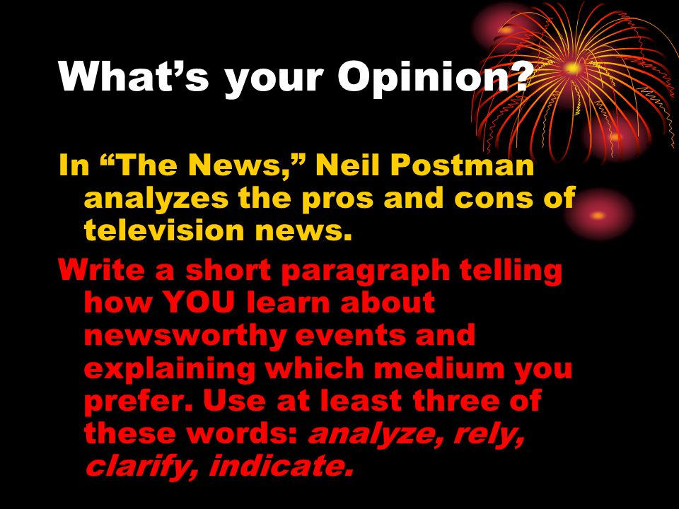 the news by neil postman essay In neil postman's essay, the news, what is the central idea - 7603339.
