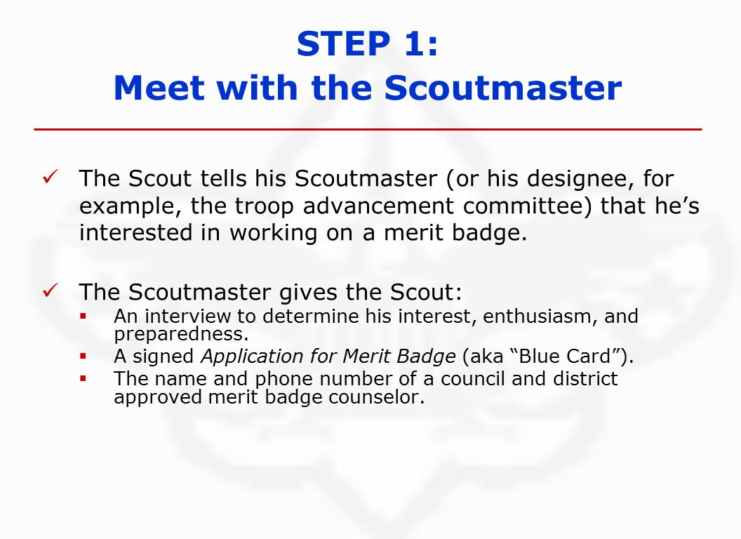 The Scout tells his Scoutmaster (or his designee, for example, the troop advancement committee) that he's interested in working on a merit badge.