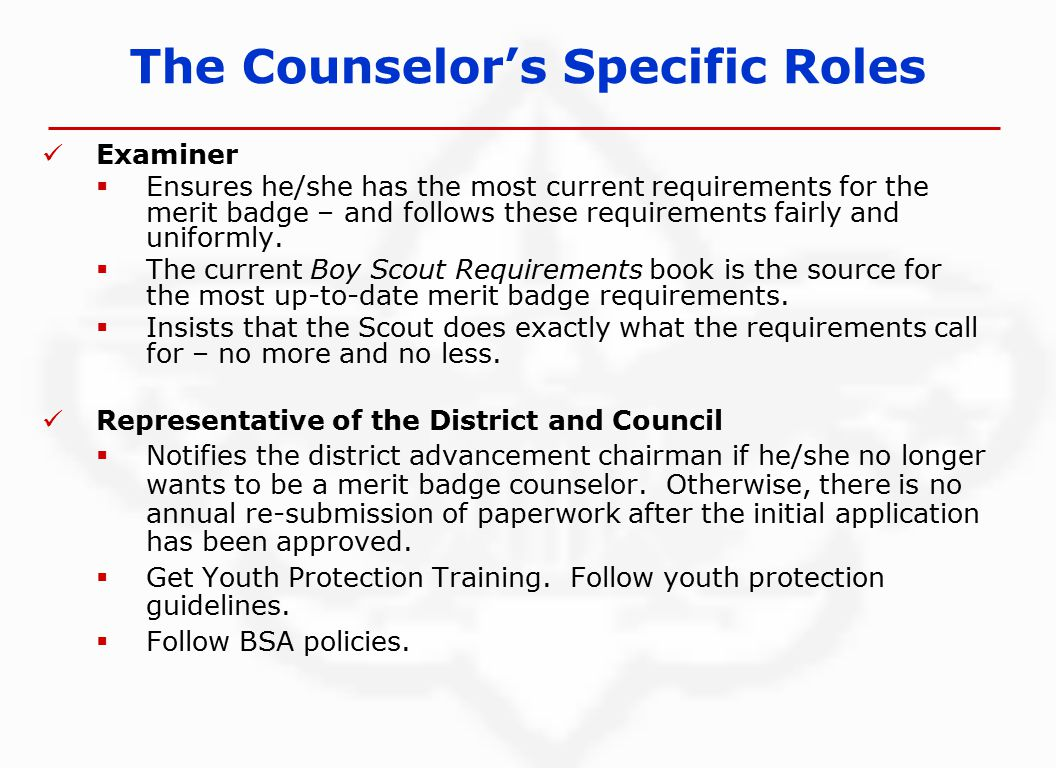 The Counselor's Specific Roles Examiner  Ensures he/she has the most current requirements for the merit badge – and follows these requirements fairly and uniformly.