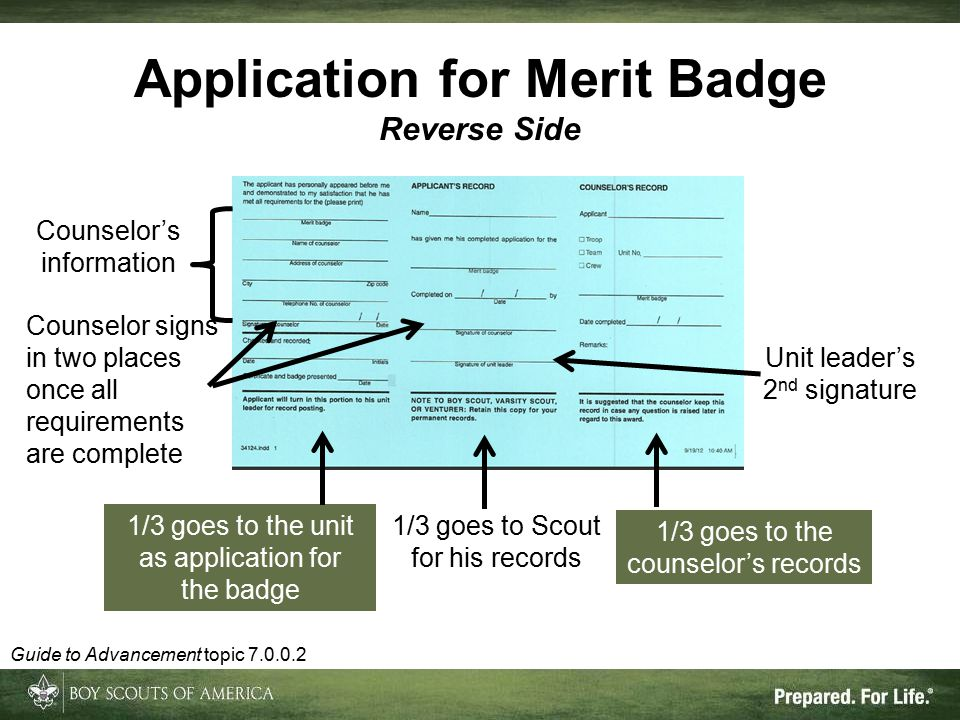 Application for Merit Badge Reverse Side Counselor's information 1/3 goes to the counselor's records 1/3 goes to the unit as application for the badge 1/3 goes to Scout for his records Unit leader's 2 nd signature Counselor signs in two places once all requirements are complete Guide to Advancement topic